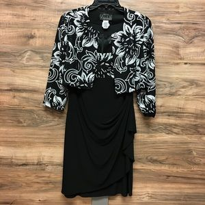 Dress with jacket black and white.